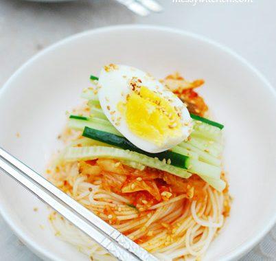 Kimchi Bibimguksu – Spicy Cold Noodles with Kimchi