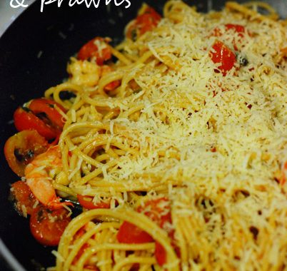 Spaghetti with Cherry Tomatoes & Prawns