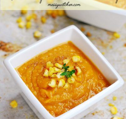 Roasted Pumpkin, Sweet Potato & Corn Soup